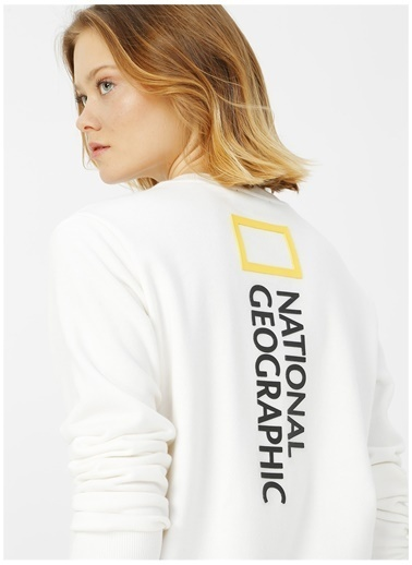 National Geographic Sweatshirt Beyaz